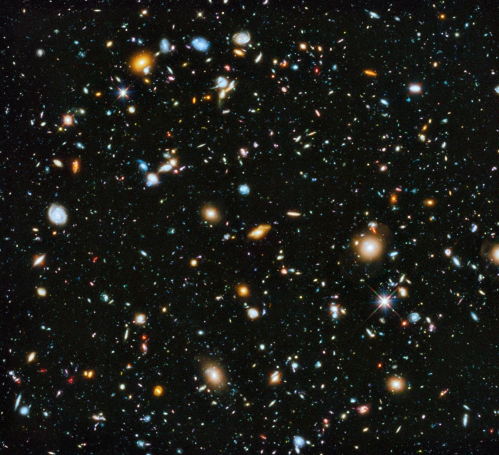 A large image of many galaxy scattered throughout the universe.